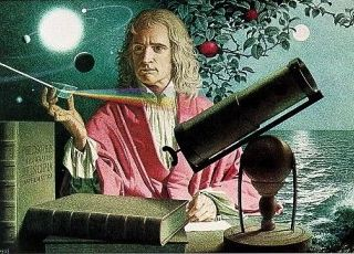 Long-haired man with emblems of his discoveries such as a prism, a telescope, an apple, and planets with their orbits.