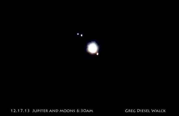 View larger. | Planet Jupiter and its four largest moons, on the morning of December 17, 2013, by GregDiesel Landscape Photography.   This photo was taken half a day prior to the one above.
