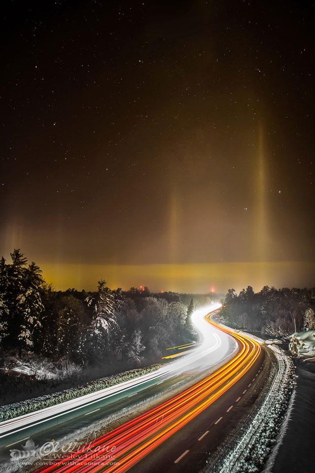 View larger. | Wesley Liikane in Severn Bridge, Ontario captured these light pillars on December 23, 2013.   See more photos by Wesley at Cowboy with a Camera on Facebook.