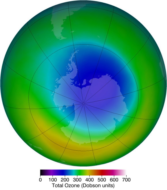 Ozone hole over Antarctica at the peak of this year's season of ozone depletion, October, 2013.  Image via NASA/Ozone Hole Watch.