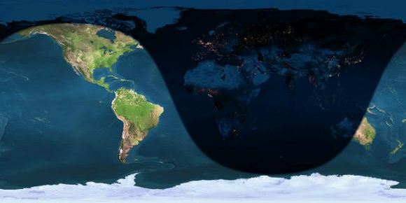 If the prediction holds - which is a big IF - eastern Asia will be in the best position to watch this year's Quadrantid shower, during the dark hours before dawn January 4, 2014. The shadow line crossing the Pacific Ocean represents sunrise.