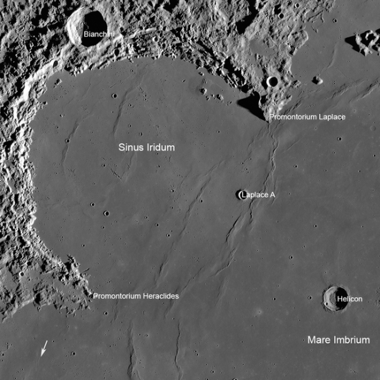 China's Chang'e 3 lander set down in Sinus Iridum, the Bay of Rainbows.   The arrow here shows the location of the Soviet Lunokhod 1 rover, LROC WAC mosaic is 360 km wide (224 miles wide).  Image via Wikimedia Commons.