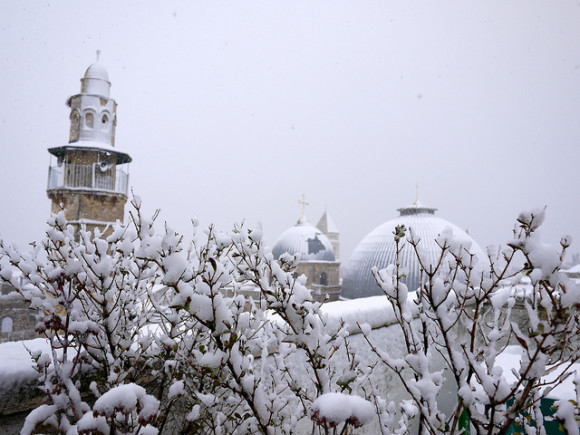 Snow in Jerusalem. Flickr user Miriam Mezzera took this photo on December 12, 2013. Click here for more details on this photo.