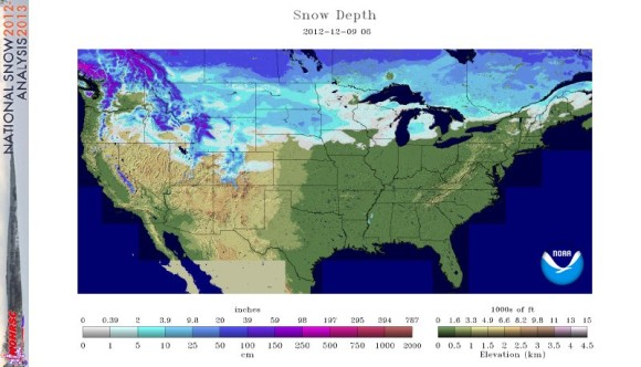 Snow depth across the United States on December 9, 2012. Image Credit:
