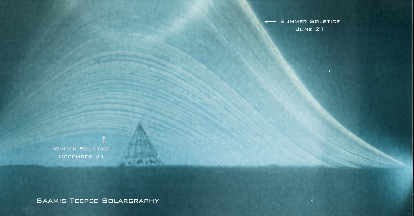 View larger. | Solargraphy from June solstice 2013 to December solstice 2013 by Ian Hennes in Medicine Hat, Alberta, Canada. Visit Ian Hennes on Facebook.