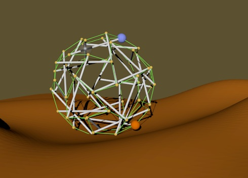Computer-drawn model of a Super Ball Bot. Image credit: NASA Ames.