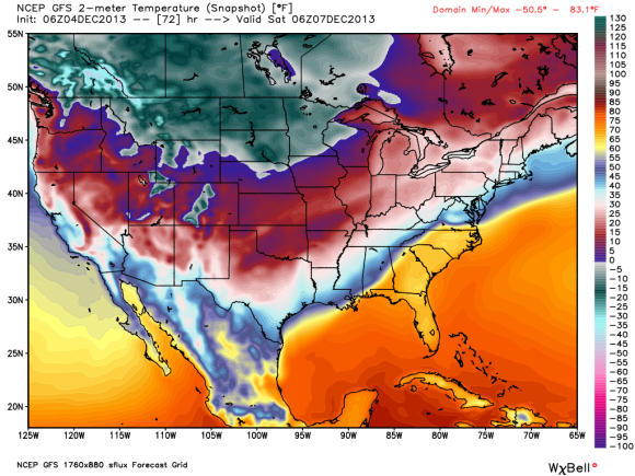 Extreme temperatures showing up in our weather models. This is the GFS showing the extreme cold pushing to the south on Saturday morning. Can you find the cold front in the Southeast U.S. ? Image Credit: WeatherBell
