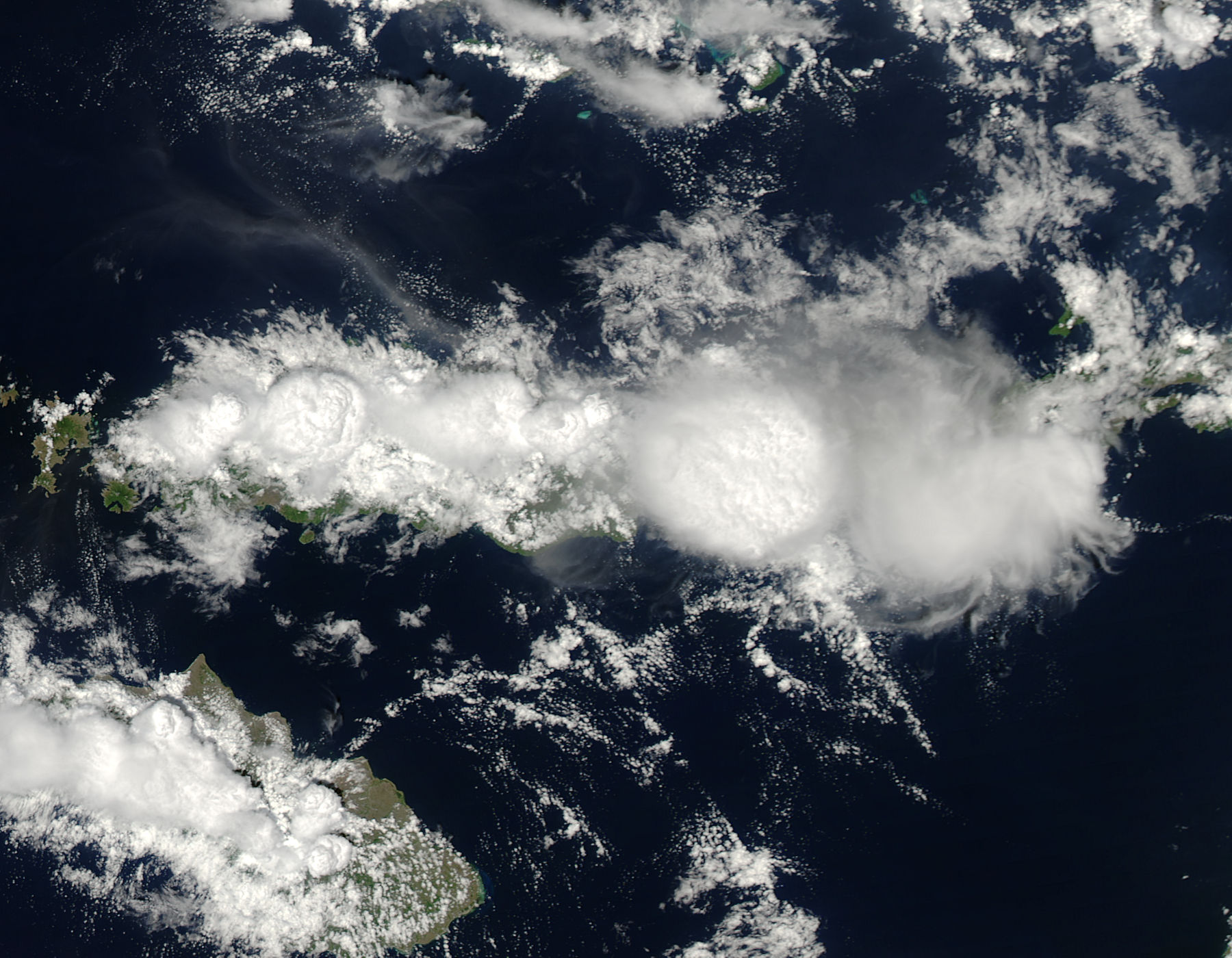 Cloud towers, seen from above