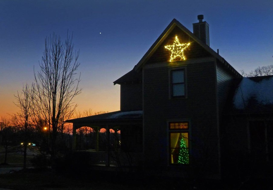 View larger. | Evening Star (Venus) and a Christmas Star. New Albany, Indiana, by Duke Marsh.