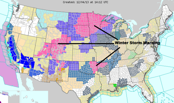 Winter weather is going to create a big mess across the United States. Winter Storm Warnings have already been issued. More to come over the next several days. Image Credit: NOAA