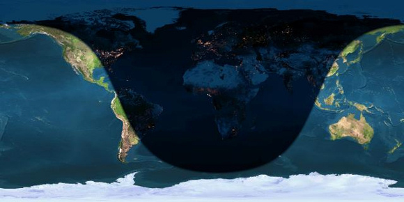 Day and night sides of Earth at the instant of the December 2014 solstice (2014 December 21 at 23:03 Universal Time). Image credit: Earth and Moon Viewer