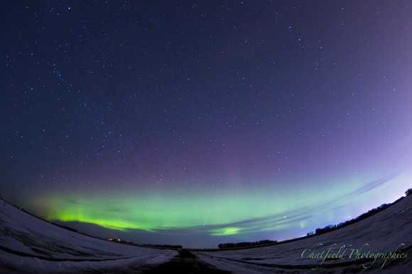 Aurora just west of Saskatoon, by Colin Chatfield. He said,