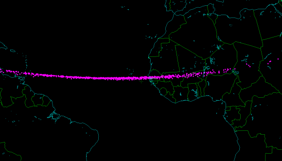 Map of the possible impact points of 2014 AA, produced by astronomer Bill Gray. The asteroid could have impacted Earth's atmosphere anywhere along this line. Most likely landing place is off the west coast of Africa, in the Atlantic Ocean.