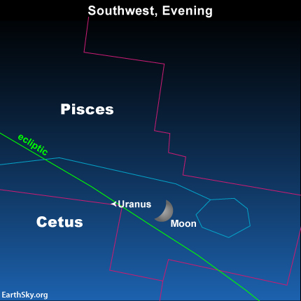 The moon and Uranus in front of the constellation Pisces the Fishes on January 6, 2014.