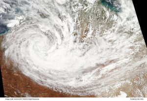 "Satellite imagery on January 18, 2014 over Australia showing this ""landcane"". Image Credit: NASA"