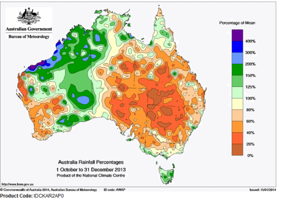 Parts of western Australia had seen nearly double the rainfall they typically see during the months of October, November, and December 2013. This possibly helped steer the development of a landcane over this region on January 18, 2014. Image Credit: Australian Government/Bureau of Meteorology