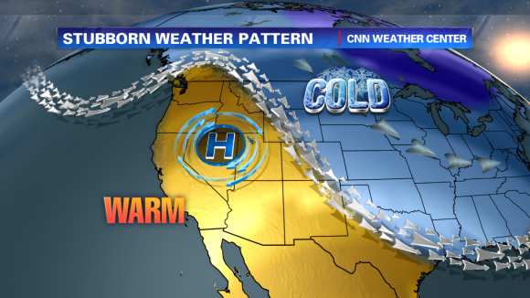 Ridge of high pressure keeps the U.S. West coast warm and dry. Image Credit: CNN Weather