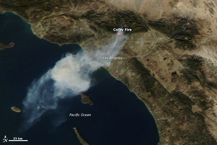 NASA's Terra satellite captured this image of the Colby fire just after noon on January 16.   Image via NASA Earth Observatory