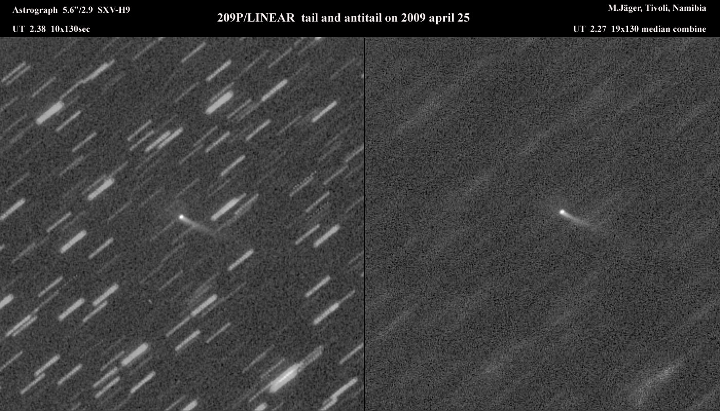View larger.   Comet 209P/LINEAR on April 25, 2009 as captured by Michael Jager in Austria.  Used with permission.  Thank you, Michael!