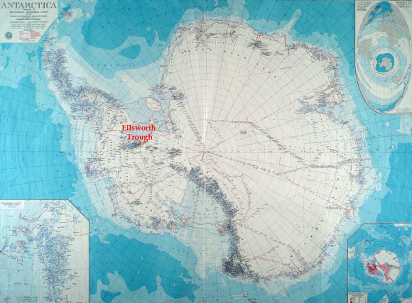 This map of Antarctica shows the rough location of the recently discovered Ellsworth Trough. Image credit: American Geological Society / Polar Geospatial Center.