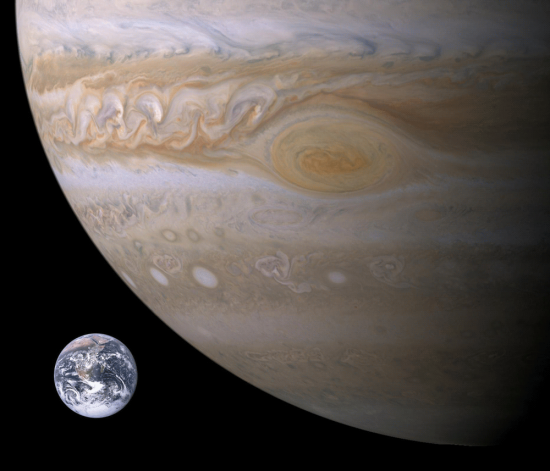 More than one thousand Earths could fit inside the giant planet Jupiter.