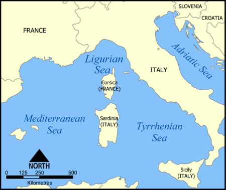 The Ligurian Sea.  Map via Wikimedia Commons.