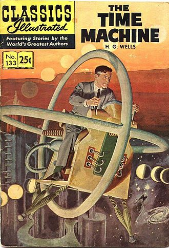 Who knows how long people have been contemplating time travel? Classic comic book cover used to illustrate H.G. Well's story of The Time Machine. Via Wikimedia Commons