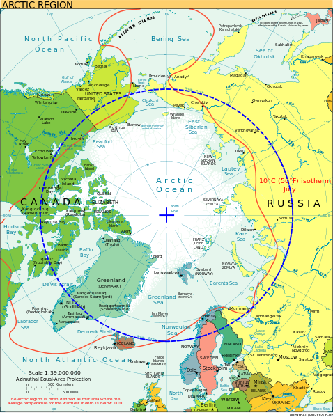 Map of the Arctic with the Arctic Circle in blue. Map via Wikimedia Commons