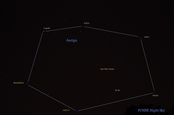 Night sky photo, with lines between stars of large oval constellation Auriga.