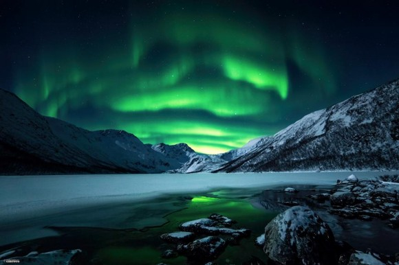 View larger. | Aurora on the night of January 9-10, 2014.  Geir-Inge Buschmann wrote,