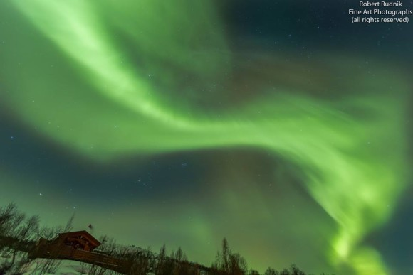 2014 has been awesome for high-latitude auroras so far, even before the January 7 X-flare.  Robert Rudnik in Norway captured this image on January 5, 2014.  See more of his photos at Nature Sky Images.