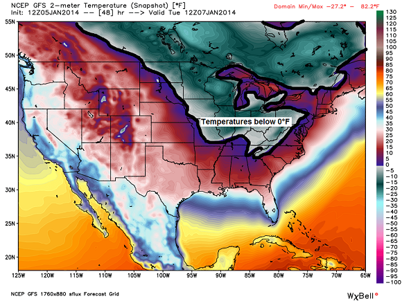 Colors in the gray/green indicating temperatures below 0°F Tuesday morning. Image Credit: GFS via Weatherbell