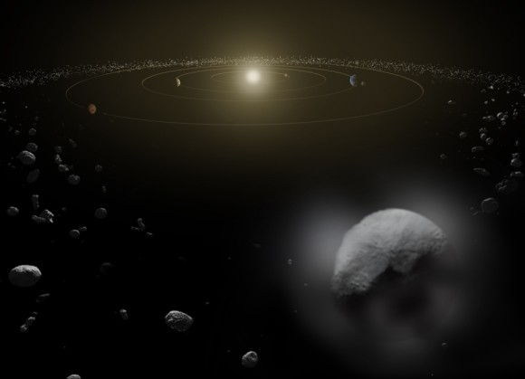 An artist's concept of Ceres with vaporous jets in the asteroid belt. Image credit: ESA/ATG medialab