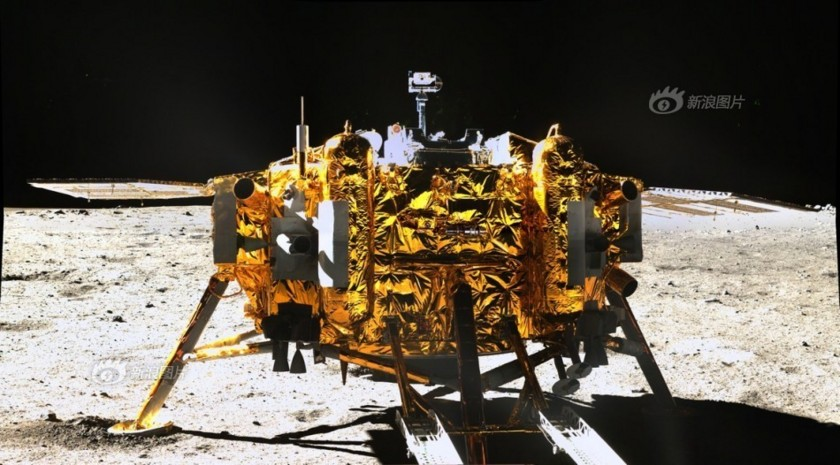 Chang'e lander on the moon. The rover Yutu captured this image on December 15, 2013. Chinese Academy of Science photo via the Planetary Society.