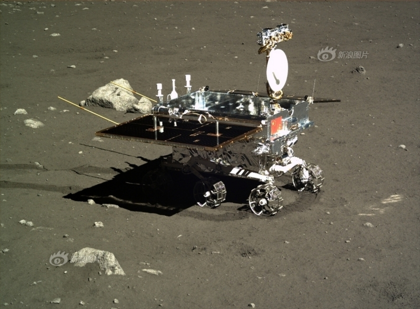 When the rover Yutu was safely deployed on the lunar surface, the lander grabbed this photo. December 16, 2013. Chinese Academy of Science photo via the Planetary Society.