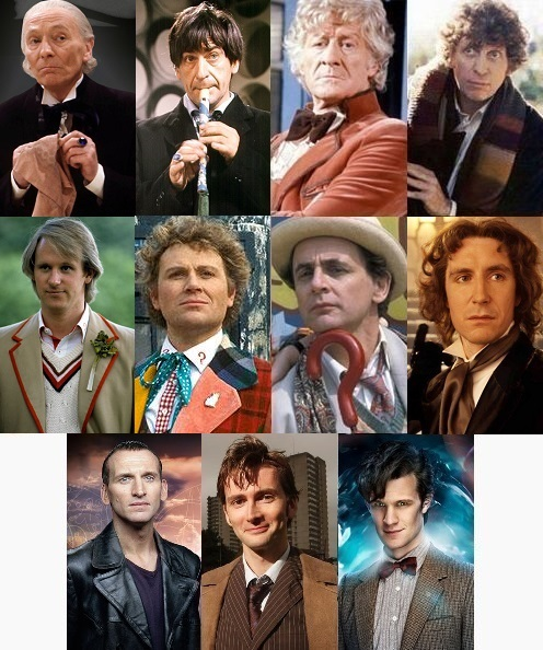 They should have just asked these guys.  In chronological order, the various actors who played TV's most famous time traveler, Dr. Who.  Image via Wikipedia.