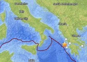 January 27 earthquake in western Greece.  Map via USGS.