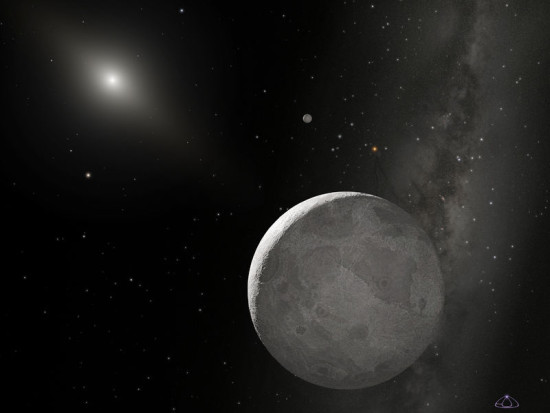 Artist's concept of the dwarf planet Eris, whose distance from the sun varies from 38.255 to 97.661 au.
