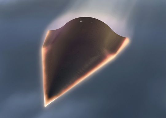Photoshopped artist's illustration?   This is the illustration I saw circulating on social media this morning, purportedly illustrating China's new hypersonic glide vehicle.