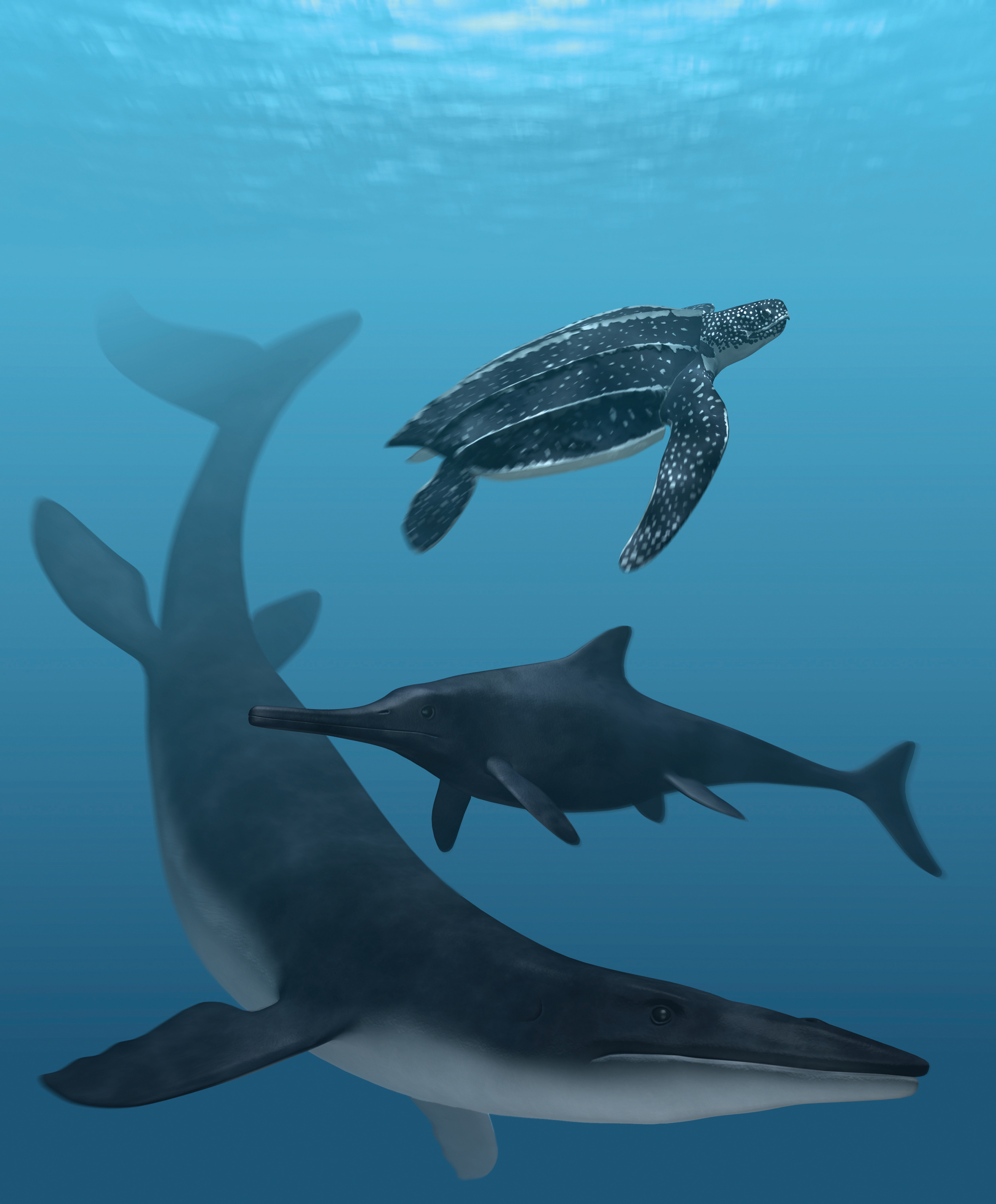 An artist's depiction of what these fossil reptiles may have looked like in life. The preserved skin pigment indicate they had some amount of dark coloring. Illustration by Stefan Sølberg.