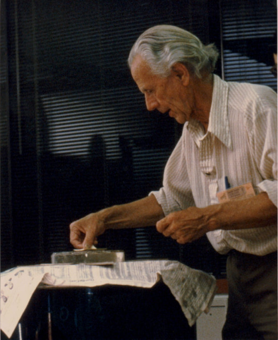 John Dobson built telescopes. His design for a simple and inexpensive telescope mounting enabled countless amateur astronomers to build their own equipment, and gaze at the stars. Photo via skywiseunlimited.com