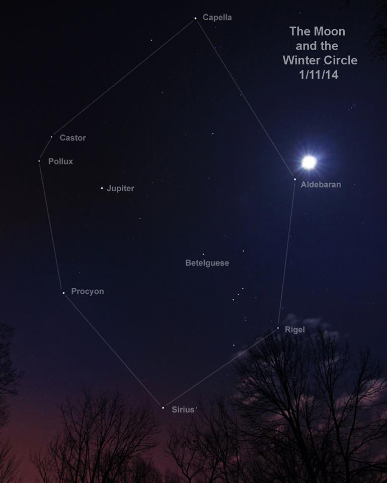 View larger. | There are many bright stars near Jupiter in 2014. The planet lies in the midst of what we stargazers in the Northern Hemisphere know as the Winter Circle. This beautiful photo captured January 11, 2014 by EarthSky Facebook friend Duke Marsh in Indiana. Thank you, Duke.