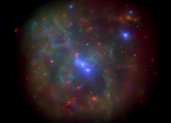 Here is the Milky Way's core, as imaged by the Swift X-ray telescope. This image is a montage of all data obtained in a monitoring program from 2006-2013.   As seen in X-rays, this region may brighten a little - or a lot - when the G2 gas cloud encounters the supermassive black hole at the galaxy's core.  Image via Nathalie Degenaar at University of Michigan.