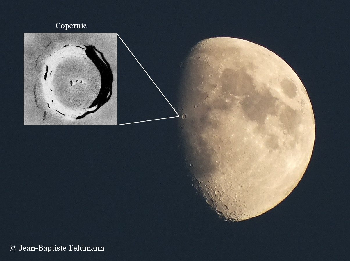 View larger. | A waxing gibbous moon. The insert shows a drawing of the lunar crater Copernicus. Photo and drawing by Jean-Baptiste Feldmann. Visit Jean-Baptiste Feldmann - photographies.