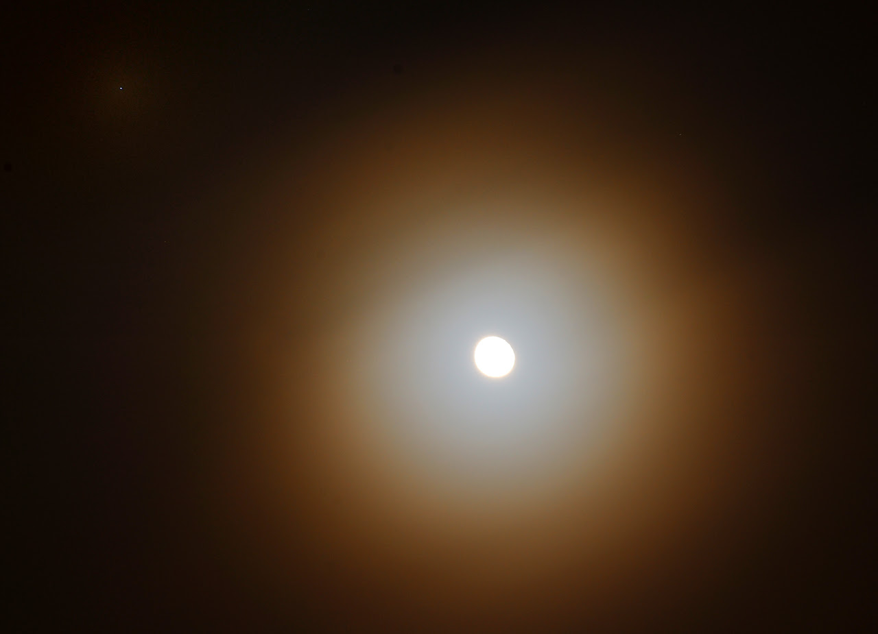 View larger. | Moon and star Regulus (upper left) on January 18, 2014 as captured in Delhi, India by Abhinav Singhai.  Thank you, Abhinav!