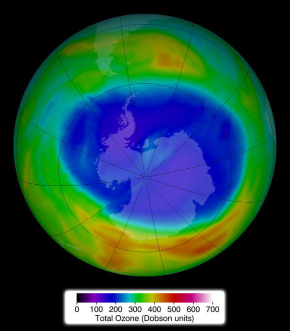 Ozone hole over Antarctica on September 11, 2014.  This is the date on which, NASA said, the hole reached its maximum extent for 2014.