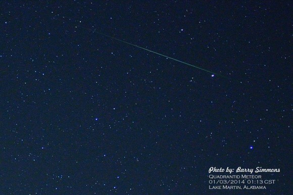 Barry Simmons in Lake Martin, Alabama captured this Quadrantid meteor on the morning of January 3, 2014.  Thank you, Barry.