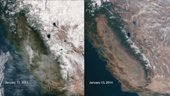 Look at the dramatic differences one year makes across Sierra Nevada. Image Credit: NASA