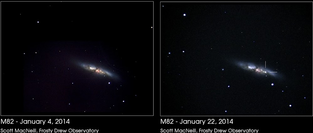 Scott MacNeill at Frosty Dew Observatory captured these two images of the galaxy M82 this month. The one on the right shows the supernova. Thank you, Scott!