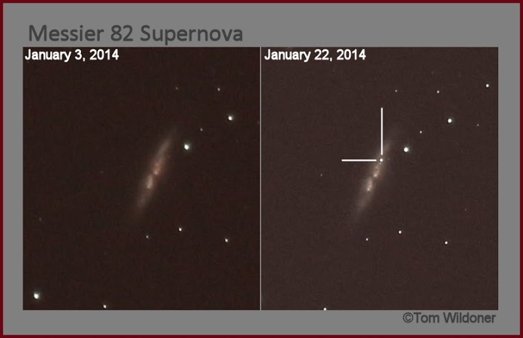 View larger. | Thomas Wildoner captured these before-and-after images of M82. Again, the supernova is on the right. Thank you, Thomas! PHOTO DETAILS: 90 second exposures using a Canon T4i and Canon EF400mm f/5.6L USM lens at ISO 800. The camera was mounted on a ZEQ25GT mount from iOptron.